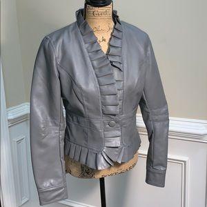 Bagatelle Faux Leather Ruffled Jacket
